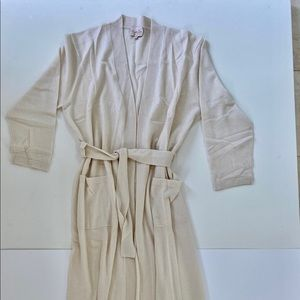 100% cashmere long robe L off white new